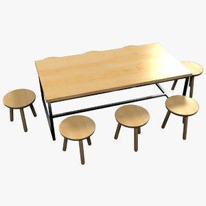 3D minimalist wooden living room