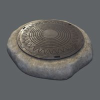 Sewer Hatch v4, Low Poly, LODs