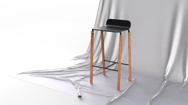 scandinavian design modern bar stool 3D
