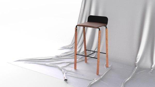 scandinavian bar stool seat 3D model