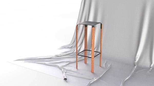 scandinavian design legged bar stool 3D model