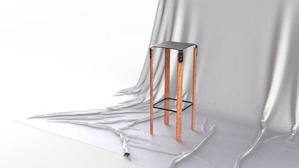3D modern scandinavian bar stool