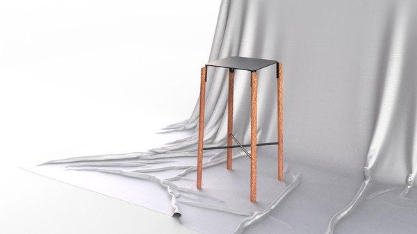minimalistic scandinavian design bar stool 3D model