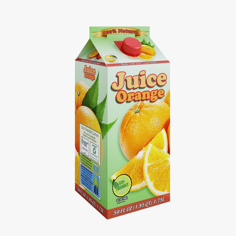 3D pack orange juice
