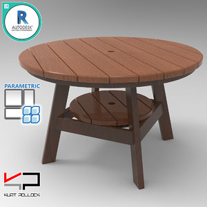 3D wood outdoor dining table