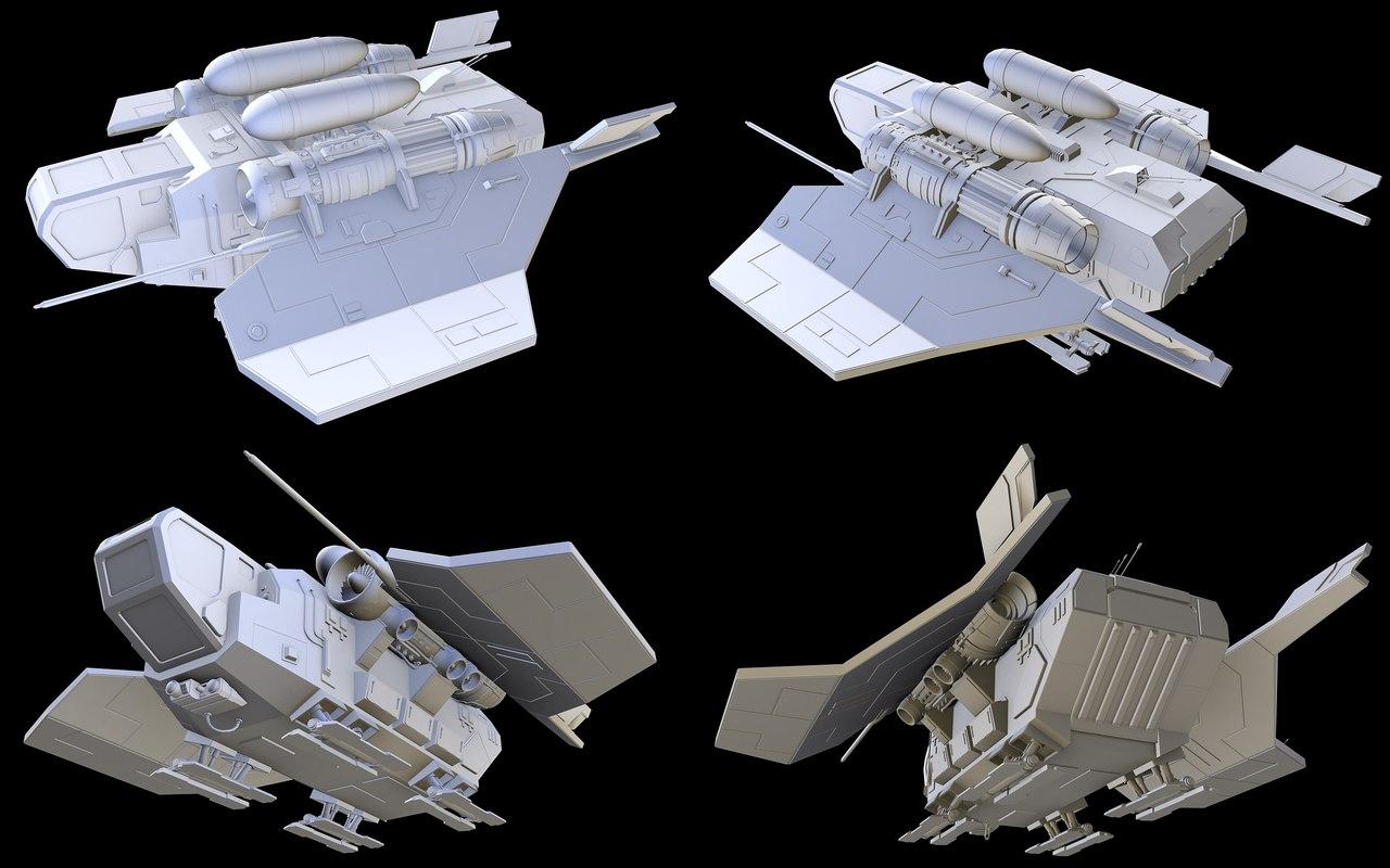 small cargo dropship 3D model