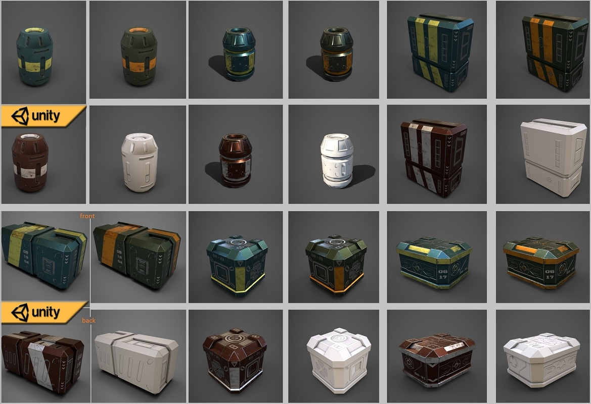 3D sci-fi containers pack model