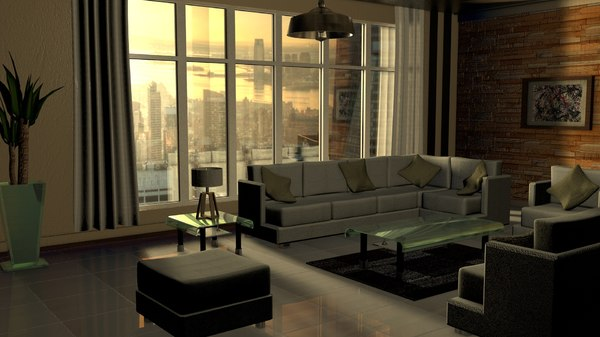 modern living room interior 3D model