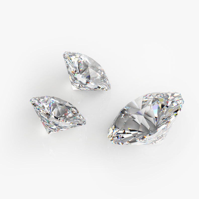 3D brilliant cut diamond model