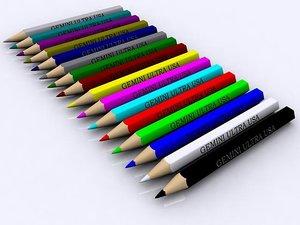 3D model colored pencils