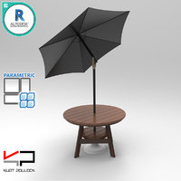 Round Wood Table With Umbrella