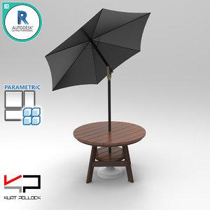 3D wood table umbrella