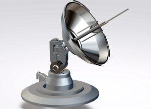 3D model sci-fi parabolic antenna level
