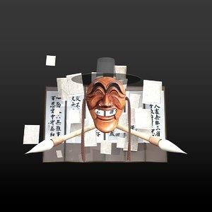 korean mask 3D model