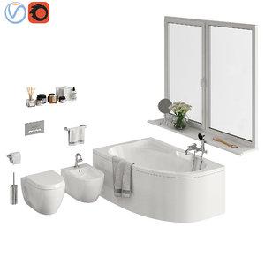 set bathroom toilet 3D model