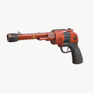 3D model sci-fi blaster revolver