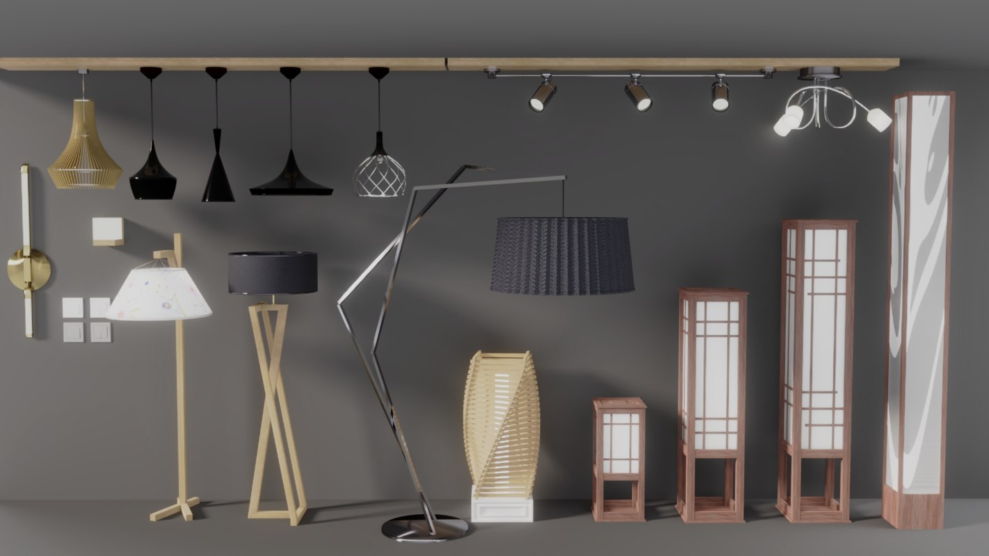 3D pack lamps interior visualizations