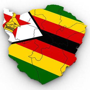 3D zimbabwe political model
