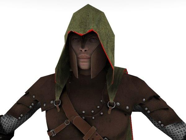 elf medieval low-poly 3D model