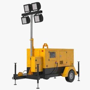 3D model mobile construction light rig
