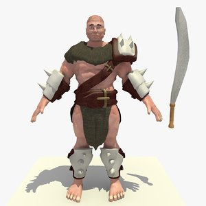 3D realistically rigged ik barbarian
