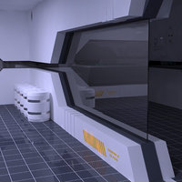 3D laboratory rooms corridor
