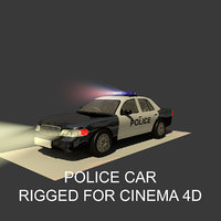 Generic Police Sedan  Car Rigged for Cinema 4D And With Light Interior