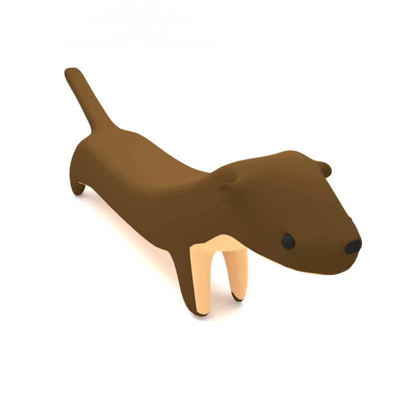 stoat ferret cute 3D model