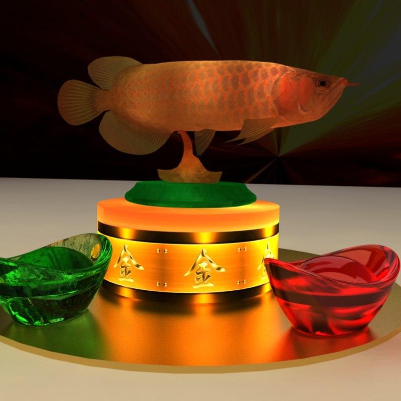 chinese gold ingot fish model
