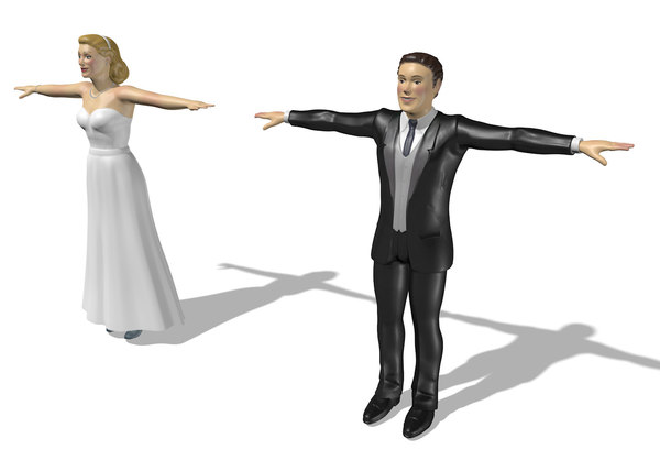 bride groom cake topper 3D model
