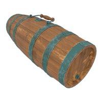 3D old wooden cask barrel model