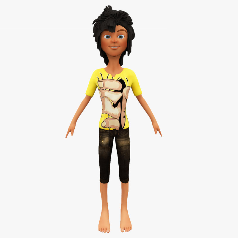 cartoon boy non-rigged rigged 3D model