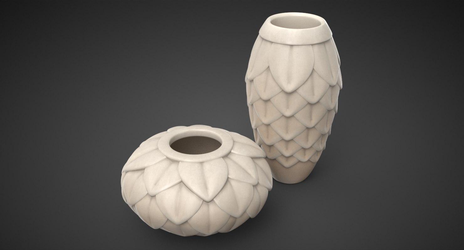 leaf porcelain vases set model