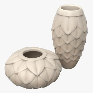leaf porcelain vases set model