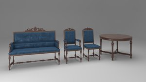 carved furniture set 01 3D model