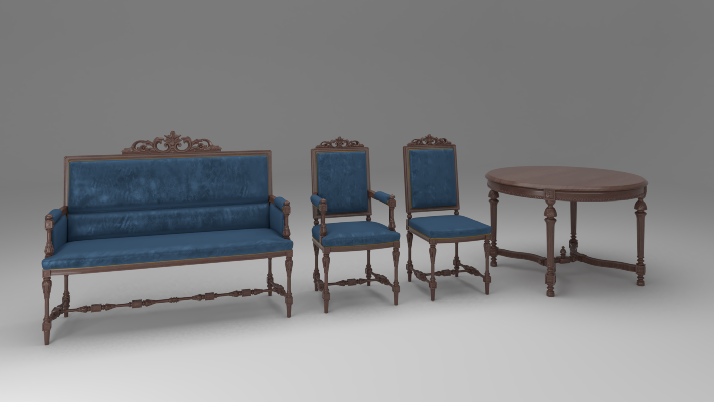 carved furniture set 01 3D model