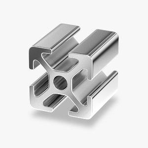 3D model aluminium extrusion profile