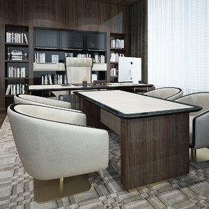 3D president chair desk model