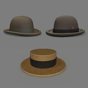 3D british hats pack model