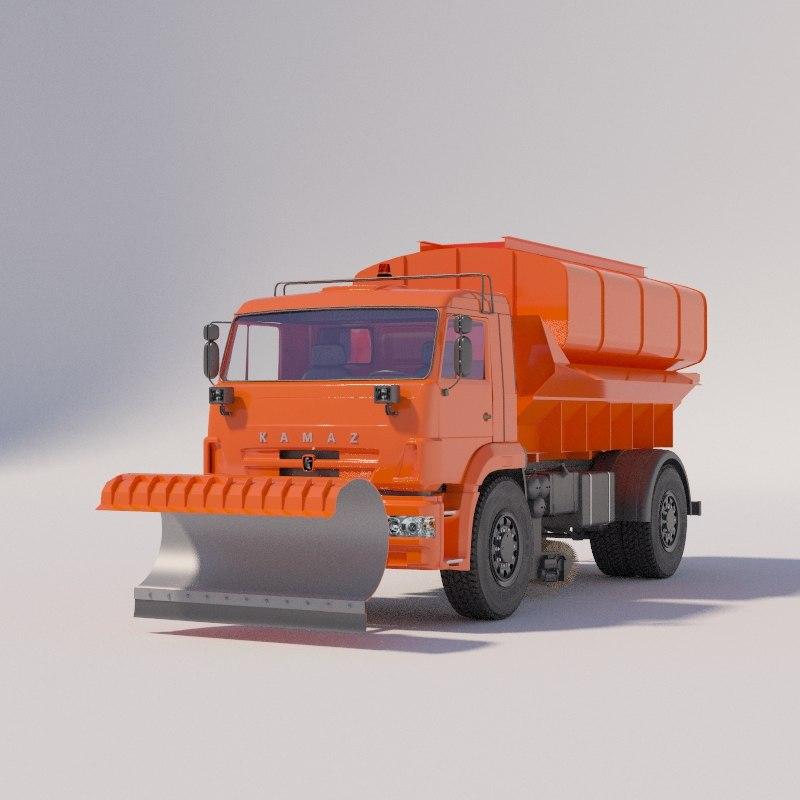 kamaz combined road machine 3D model