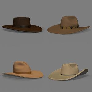 3D old west cowboy hats