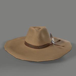 3D model cowgirl hat