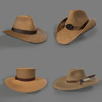 old west cowgirl hats 3D model
