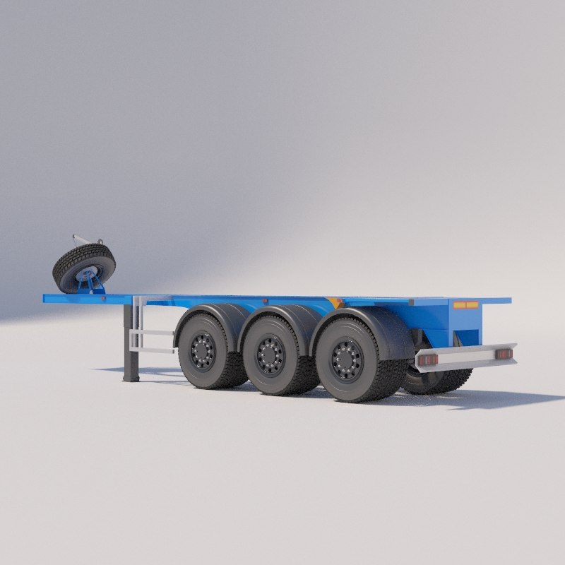 3D model container carrier semitrailers