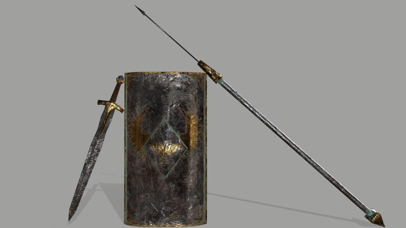 3D model shield sword spear