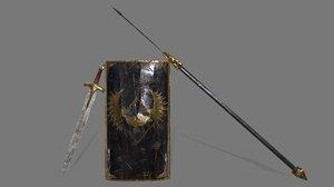 shield sword spear 3D model