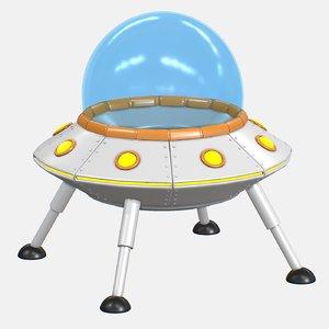 3D cartoon ufo v2 model
