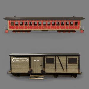 passenger wagons pack 3D model