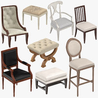 classical chairs stools ottoman 3D model