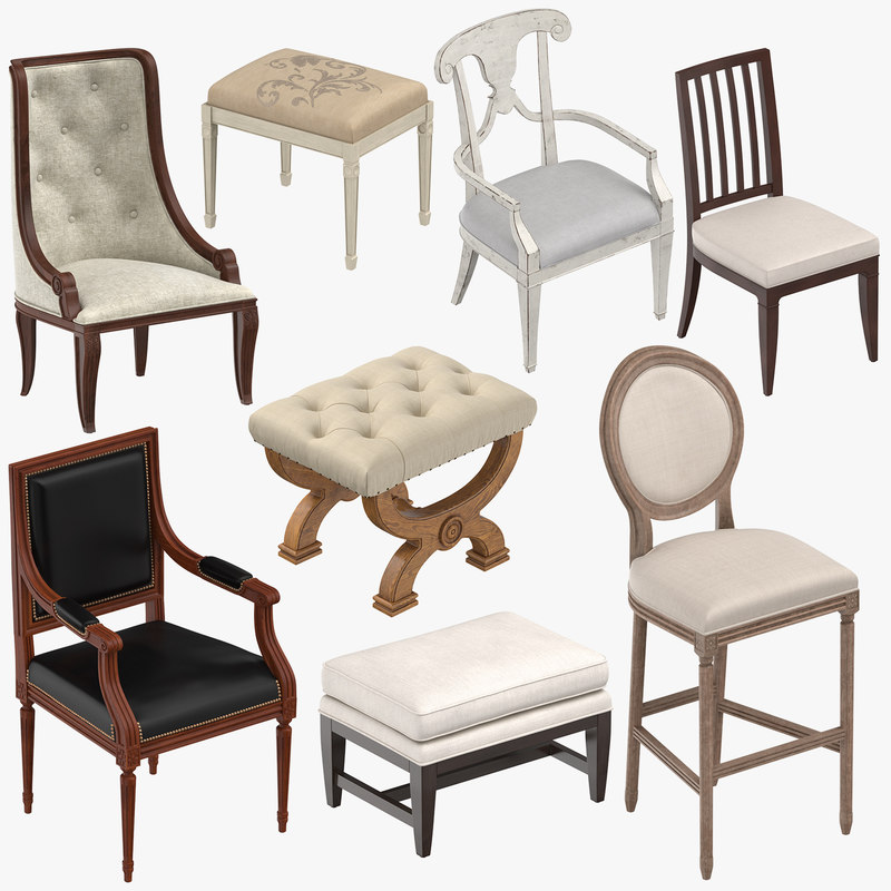 classical chairs stools ottoman 3d model turbosquid 1304667